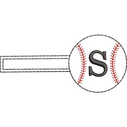 Baseball Key Fob S embroidery design