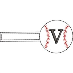 Baseball Key Fob V embroidery design