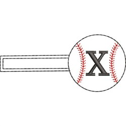 Baseball Key Fob X embroidery design