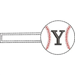 Baseball Key Fob Y embroidery design