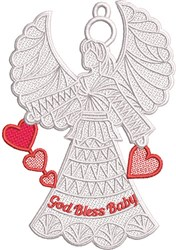 FSL Bless Baby Angel embroidery design