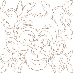 Quilt Block Monkey embroidery design