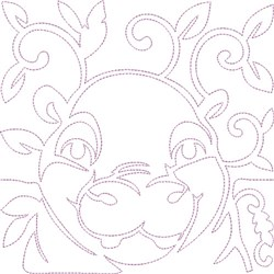 Quilt Block Hippo embroidery design