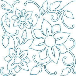Floral Quilt Block embroidery design