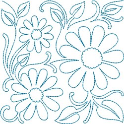 Quilt Block Daisies embroidery design