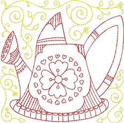 Watering Can Block embroidery design