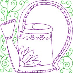 Floral Water Can embroidery design