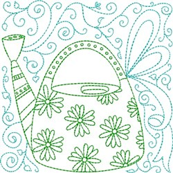 Daisy Water Can embroidery design