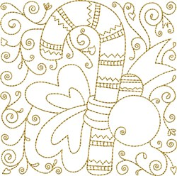 Candy Cane Quilt Block embroidery design