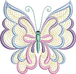 Whimsical Pastel Butterfly embroidery design