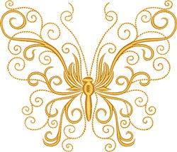 Curly Butterfly embroidery design