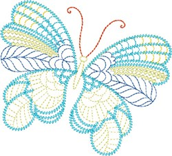 Whimsical Blue Butterfly embroidery design