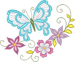 Butterflies & Flowers embroidery design