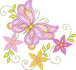 Butterflies Floral embroidery design