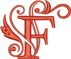 Elegant Monogram Font F embroidery design