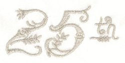 25th Birthday embroidery design
