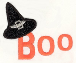 Boo Witch Hat embroidery design