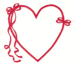 Ribbon & Bow Heart embroidery design