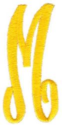 Swirl Monogram Letter M embroidery design