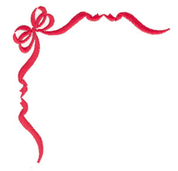 Ribbon and Bow Corner embroidery design