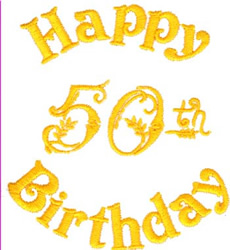 Happy 50th Birthday embroidery design