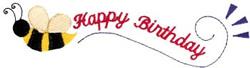 Happy Birthday Bee embroidery design