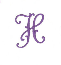 Elegant Vine Monogram H embroidery design