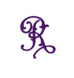 Elegant Vine Monogram R embroidery design