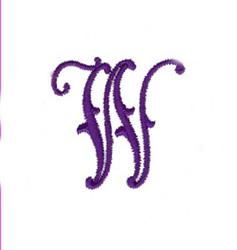 Elegant Vine Monogram W embroidery design