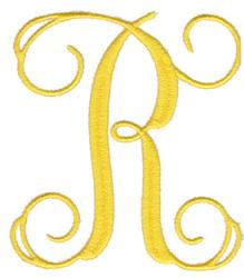 "Elegant 4"" R embroidery design"