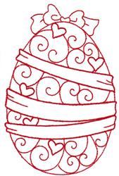 Ribbon Redwork Egg embroidery design