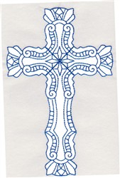 Elegant Bluework Cross embroidery design