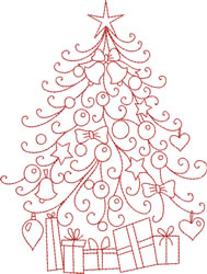 Redwork Christmas Tree embroidery design