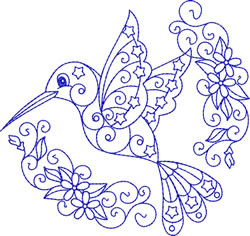 Hummingbird Bluework embroidery design
