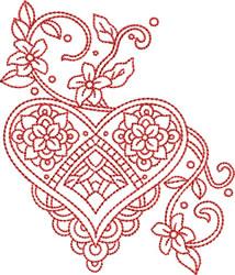 Valentines Redwork embroidery design