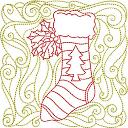 Redwork Stocking embroidery design