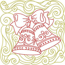 Redwork Christmas Bells embroidery design