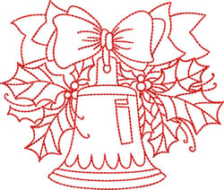 Christmas Bells and Holly embroidery design