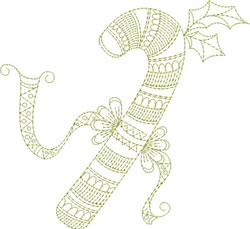 Redwork Candy Cane embroidery design