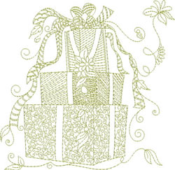 Redwork Christmas Presents embroidery design