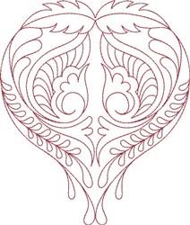 Hearts Swirls embroidery design