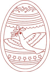 Redwork Dove Egg embroidery design