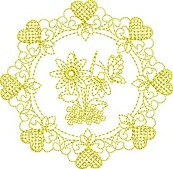 Hearts & Butterfly Circle embroidery design