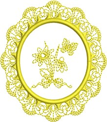 Yellow Butterfly Circle embroidery design