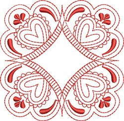 Redwork Hearts Block embroidery design