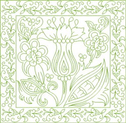 Russian Flowers Block embroidery design