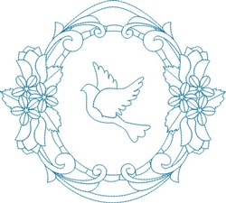 Religious Dove Wreath embroidery design