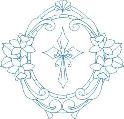 Religious Cross Wreath embroidery design