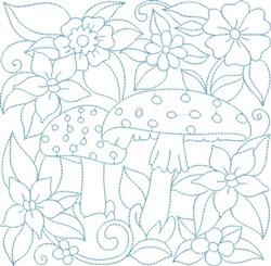 Mushrooms & Flowers Block embroidery design