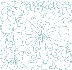 Flowers & Butterfly Block embroidery design